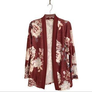 Beautiful Floral Fleece Open Cardigan Size S